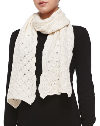 Cashmere Lace-Knit Scarf, Winter White