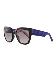 My Dior Cannage-Arm Sunglasses, Black/Purple