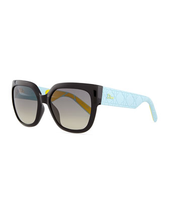 My Dior Cannage-Arm Sunglasses, Black/Blue