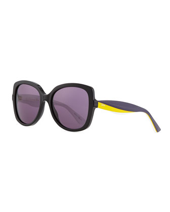 Envol 2 Oversized Half-Rim Sunglasses, Black/Yellow