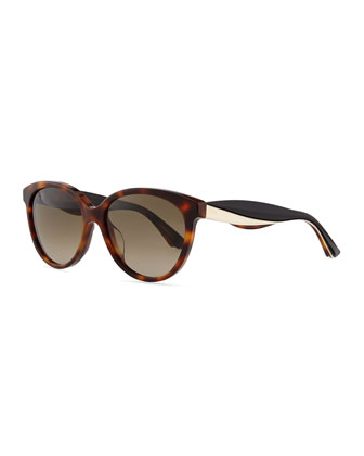 Envol 3 Rounded Rectangle Sunglasses, Brown/Black