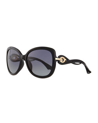 Twisting Diorissimo Sunglasses, Black