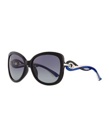 Twisting Diorissimo Sunglasses, Pink/Blue/Black