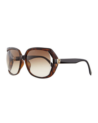 Fendista-Temple Sunglasses, Brown