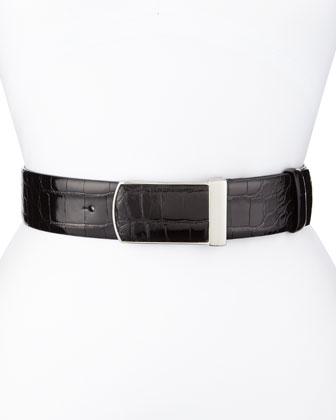 Alligator Wide Silver-Buckle Belt