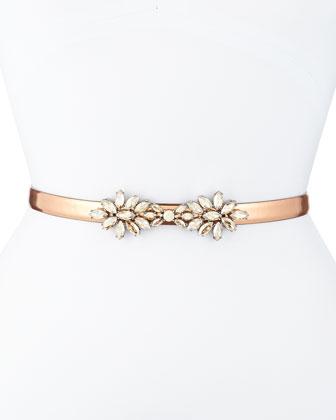Floral-Crystal Metallic Leather Belt