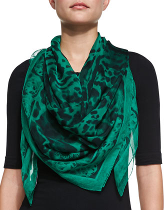 Animalier Skull Border-Print Scarf, Green