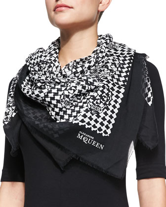 Dogtooth Skull-Print Silk Scarf, Black/White