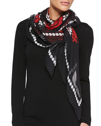 Floral-Print Silk Scarf, Red/Black