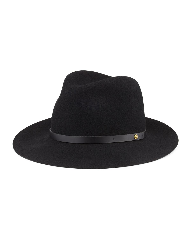 Rag & Bone Floppy Brim Wool Fedora Hat, Black, Size: S