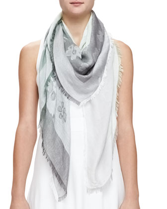 Ombre Floral Square Scarf, Green