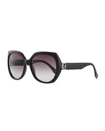 Fendista Temple Sunglasses, Black