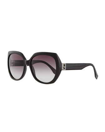 Fendista Temple Sunglasses, Black