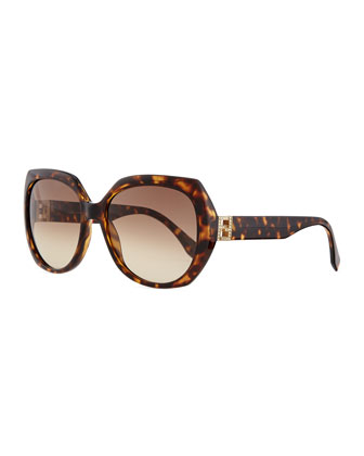 Fendista Temple Sunglasses, Brown Havana