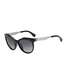 Fendista-Temple Sunglasses, Black