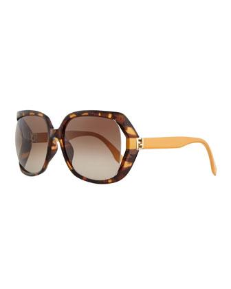 Fendista Temple Sunglasses, Havana/Orange