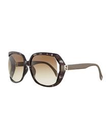 Fendista Temple Sunglasses, Gray Havana