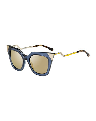 Iridia Flash Sunglasses with Mirror Lens, Blue