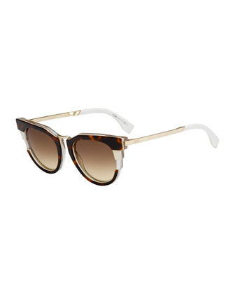 Colorblock Sunglasses, Havana/White