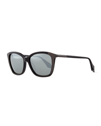 Metal-Embellished Cat-Eye Sunglasses, Black