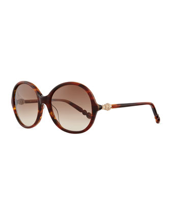 Pave Crystal-Temple Round Sunglasses, Tortoise