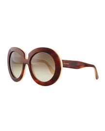 Oversized Round Sunglasses, Havana/Ivory
