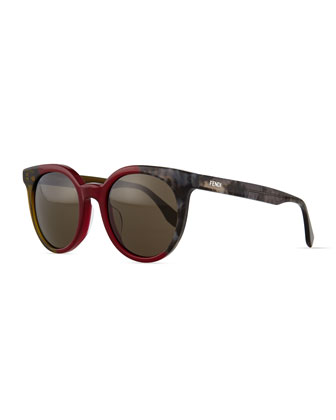 Limited-Edition Colorblock Sunglasses, Red/Gray