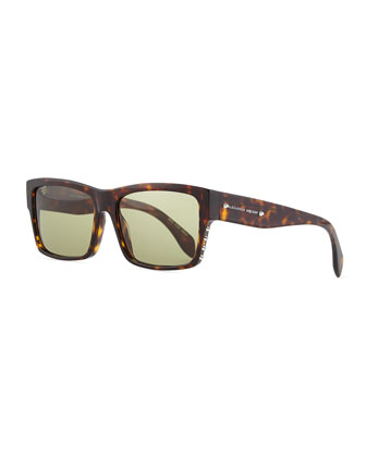 Studded Rectangle Sunglasses, Havana
