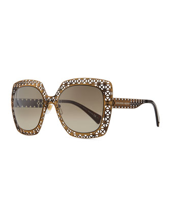 Metal Lattice Sunglasses, Bronze