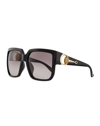 Diamantissima Square Sunglasses, Black