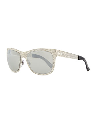 Mirrored GG Texture Sunglasses, Palladium