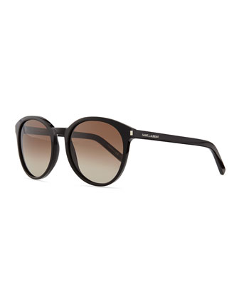 Acetate Rounded Sunglasses, Black