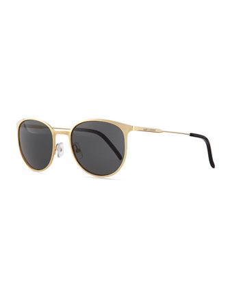 New Wave Round Sunglasses, Gold