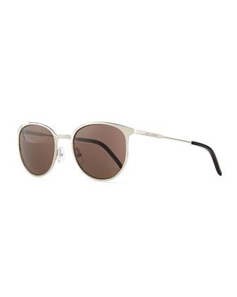 New Wave Round Sunglasses, Palladium