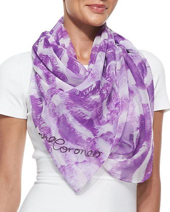 Kisses Lip-Print Chiffon Scarf, Purple/White