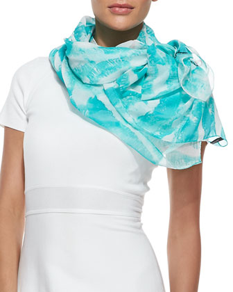 Kisses Lip-Print Chiffon Scarf, Blue/White