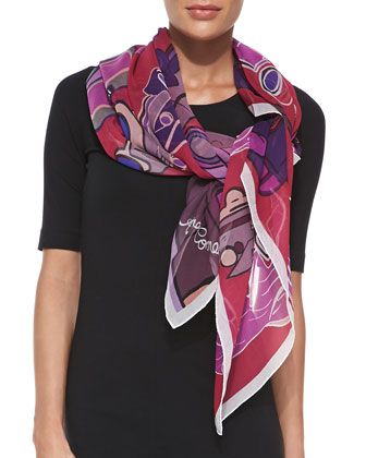 Vintage Cars Printed Chiffon Scarf, Rouge