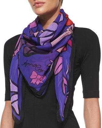 Bows Printed Chiffon Scarf, Purple/Orange