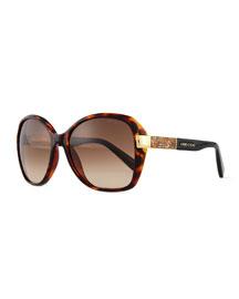 Alana Colorblock Round Butterfly Sunglasses, Havana