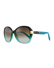Alana Colorblock Round Butterfly Sunglasses, Petrol Green/Blue