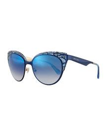 Estelle Lace-Pattern Cat-Eye Sunglasses, Blue