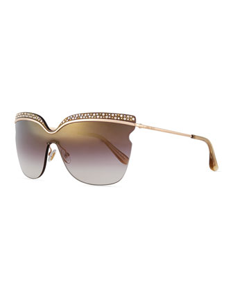 Jezebel Exaggerated-Brow Sunglasses, Rose/Brown