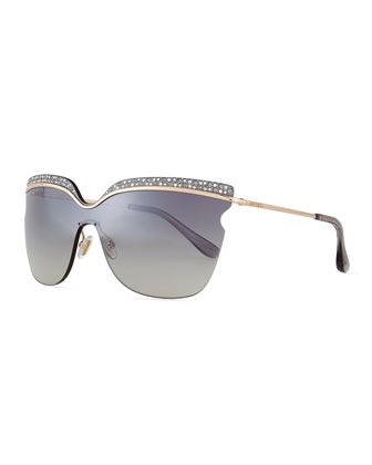 Jezebel Exaggerated-Brow Sunglasses, Rose/Gray