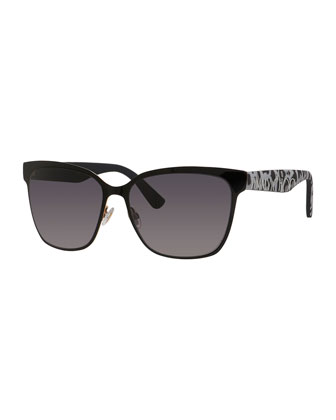 Kiera Mirror Logo-Temple Sunglasses, Black
