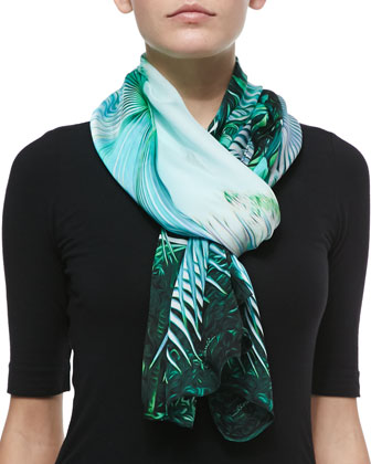 Tropical-Print Silk Scarf