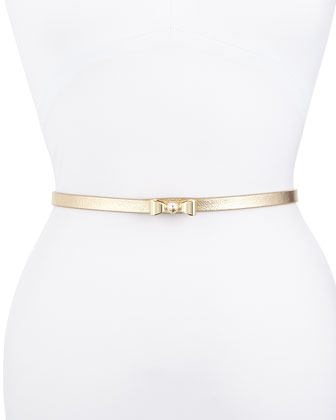 Metallic Leather Bow Belt, Gold