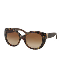 Plastic Cat-Eye Sunglasses, Porcini Tortoise