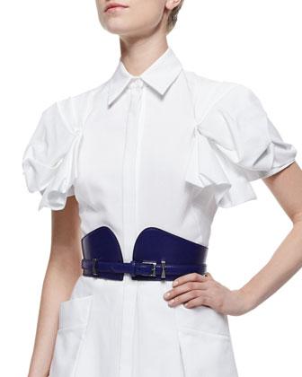 Bustino Leather Bridle Belt, Ultramarine