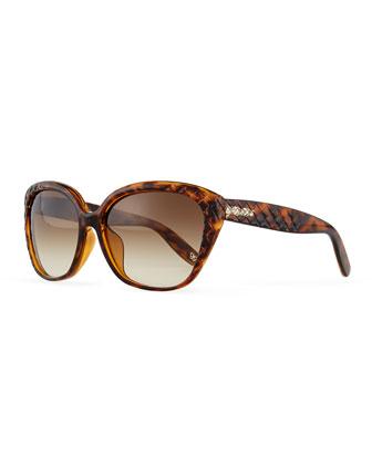 Intrecciato Embossed Sunglasses, Havana