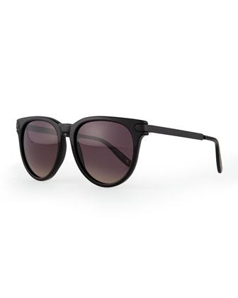 Intrecciato Round Sunglasses, Black